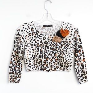 Leopard animal print floral appliqué crop top knit
